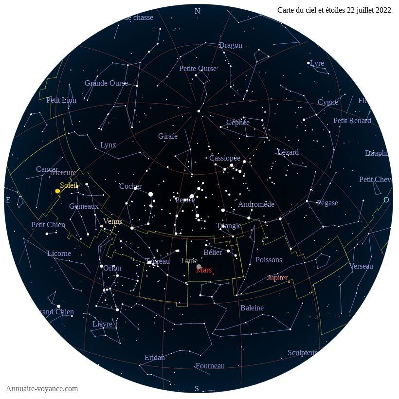 carte du ciel 22-juillet
