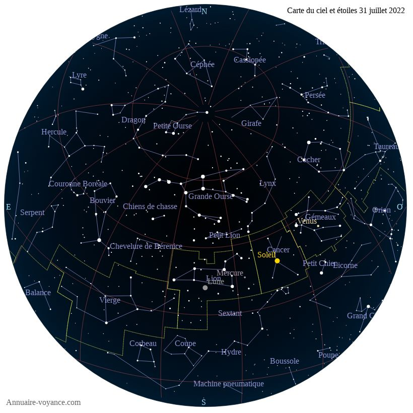 carte du ciel 31-juillet